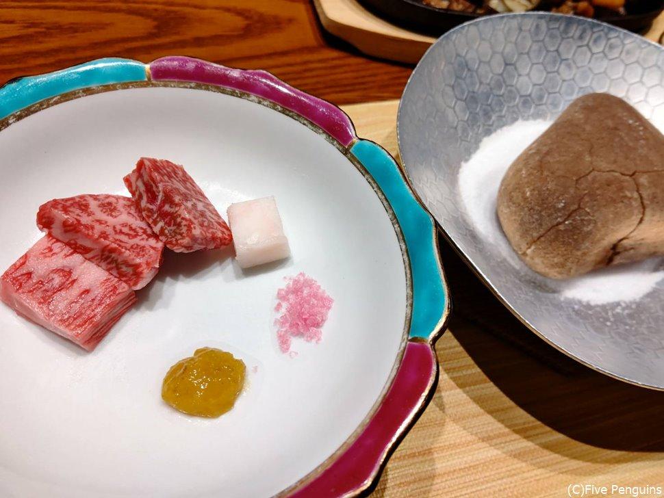 3種類の宮崎牛。石焼で頂きます