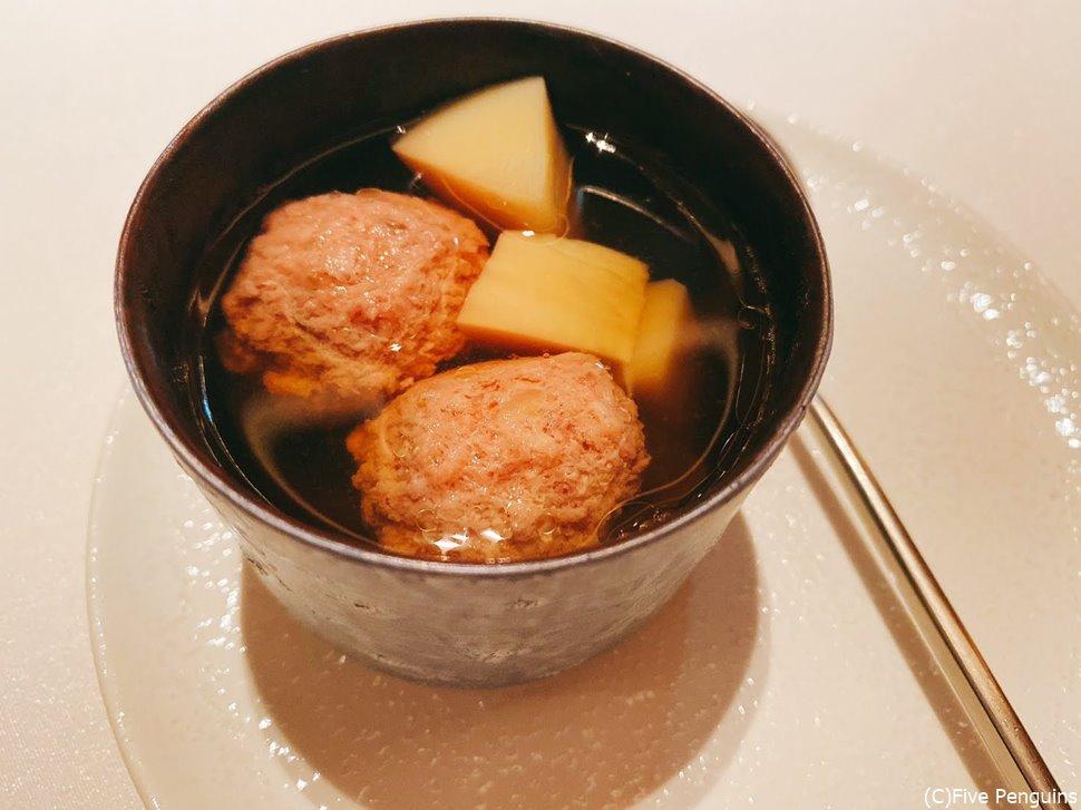 鴨肉のコンソメスープ。沁み渡るお味。