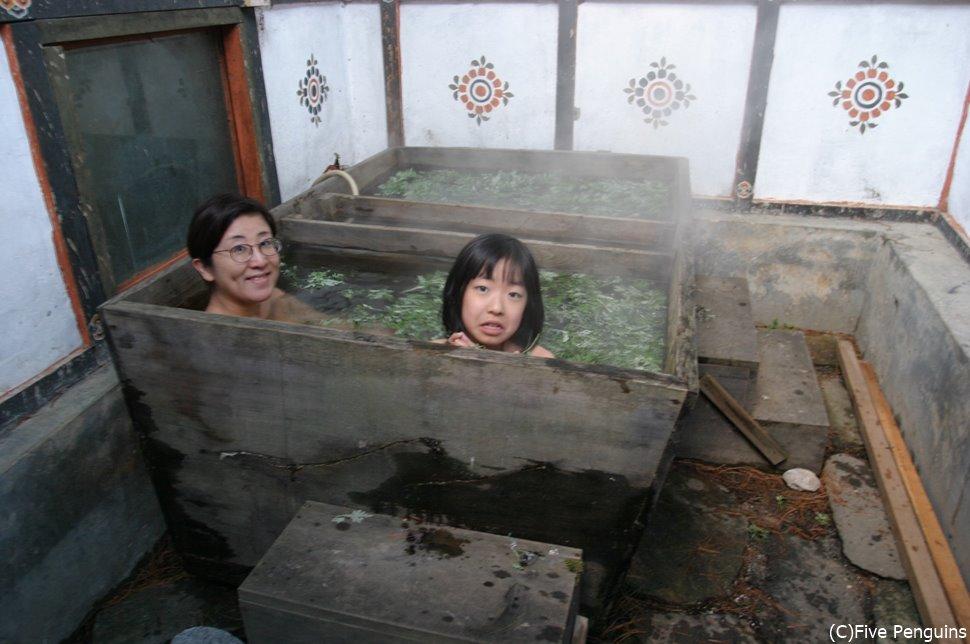 身体が芯まで温まります。湯加減は希望により調整も可能