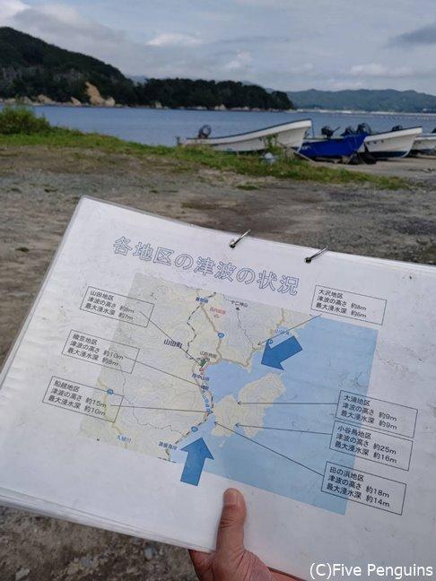 地区ごとに何メートルの津波が襲ったかの見取り図