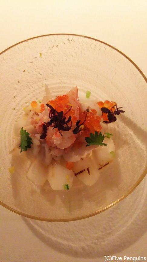 白子・毛蟹・蕪の組み合わせが素晴らしい前菜