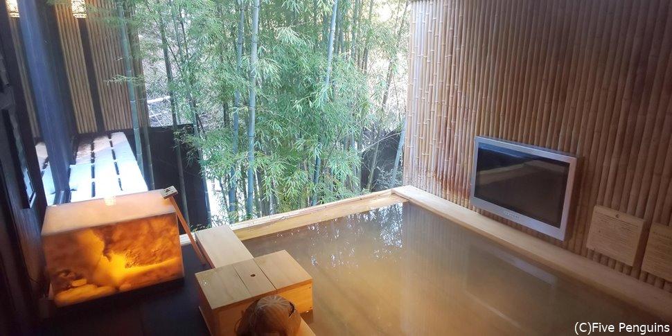 貸切露天風呂も竹林ビューが素敵