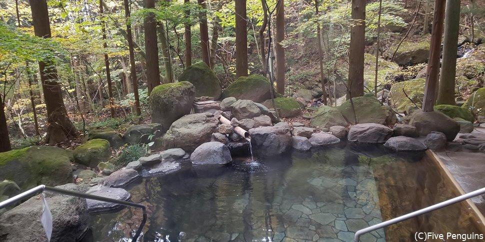池のように大きな露天風呂。杉の香りに包まれた解放感