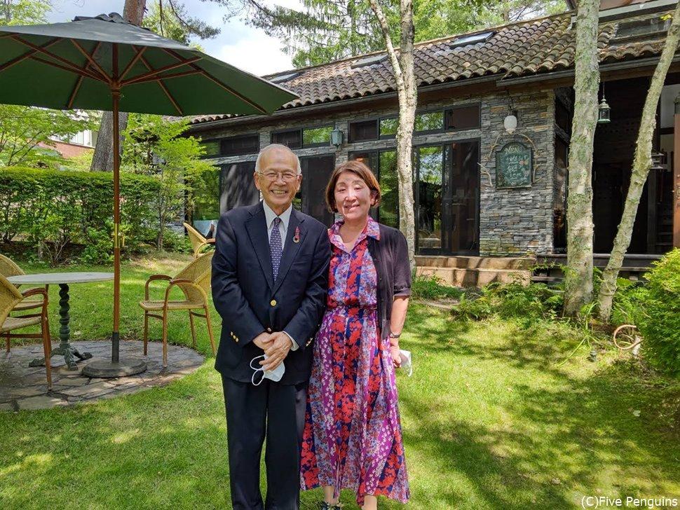 オーナーの藤木氏と。シェフのお父様でもある