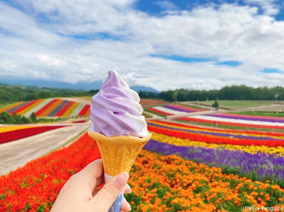 四季彩の丘でラベンダーのソフトクリームを!
