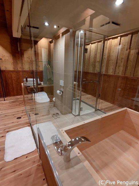 透け透けのバスルームに最初はびっくりするかも