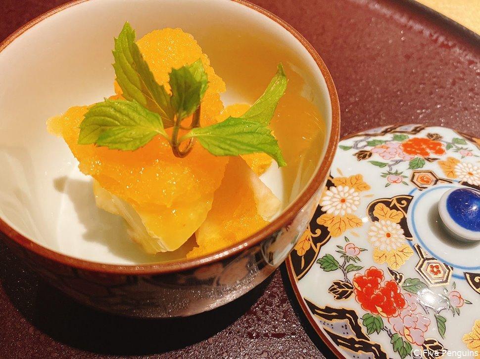 長野の桃と夕張メロンのソルベ