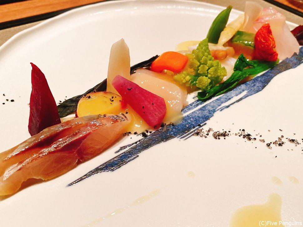 旬の野菜と瀬戸内の魚介類の前菜