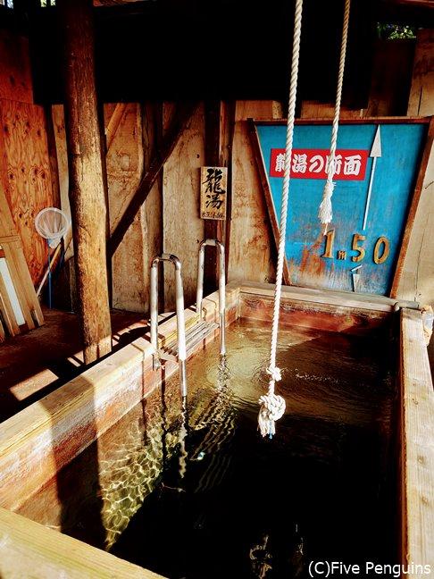 ロープに掴まりながらのお風呂は初めて