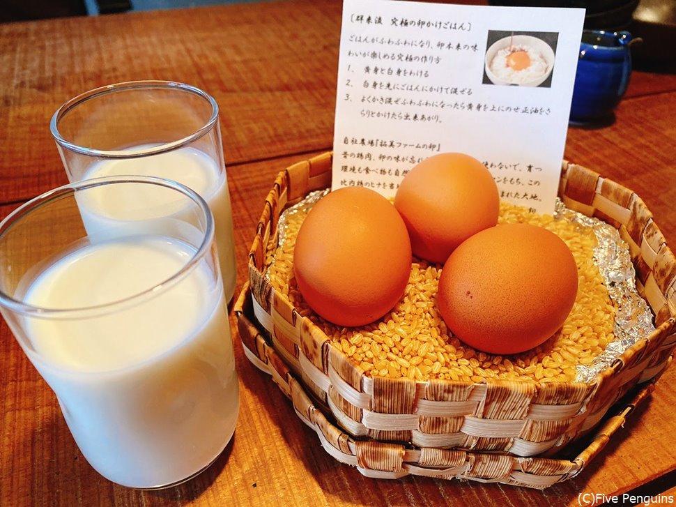 朝食で出た江差の牛乳は抜群の美味しさ。卵かけご飯用の卵は黄身の弾力に驚いた
